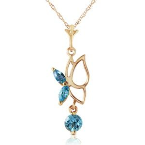 14K. SOLID GOLD BUTTERFLY NECKLACE WITH BLUE TOPAZ